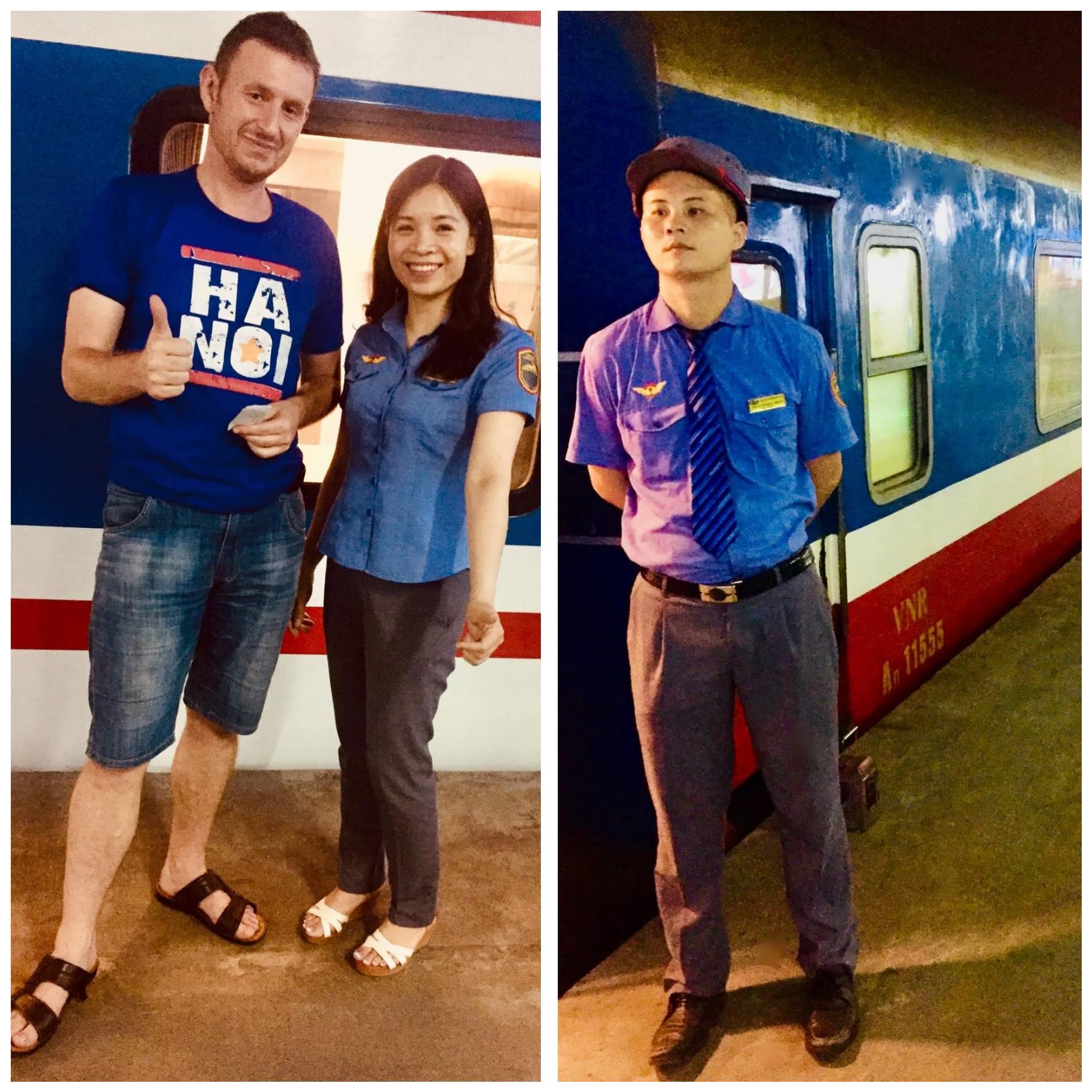 Taking a train from Hanoi Railway Station.