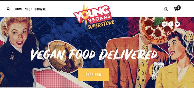 Young Vegans Online Pie Shop.