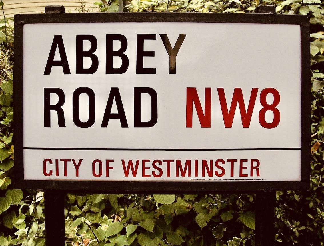 Abbey Road street sign in London.