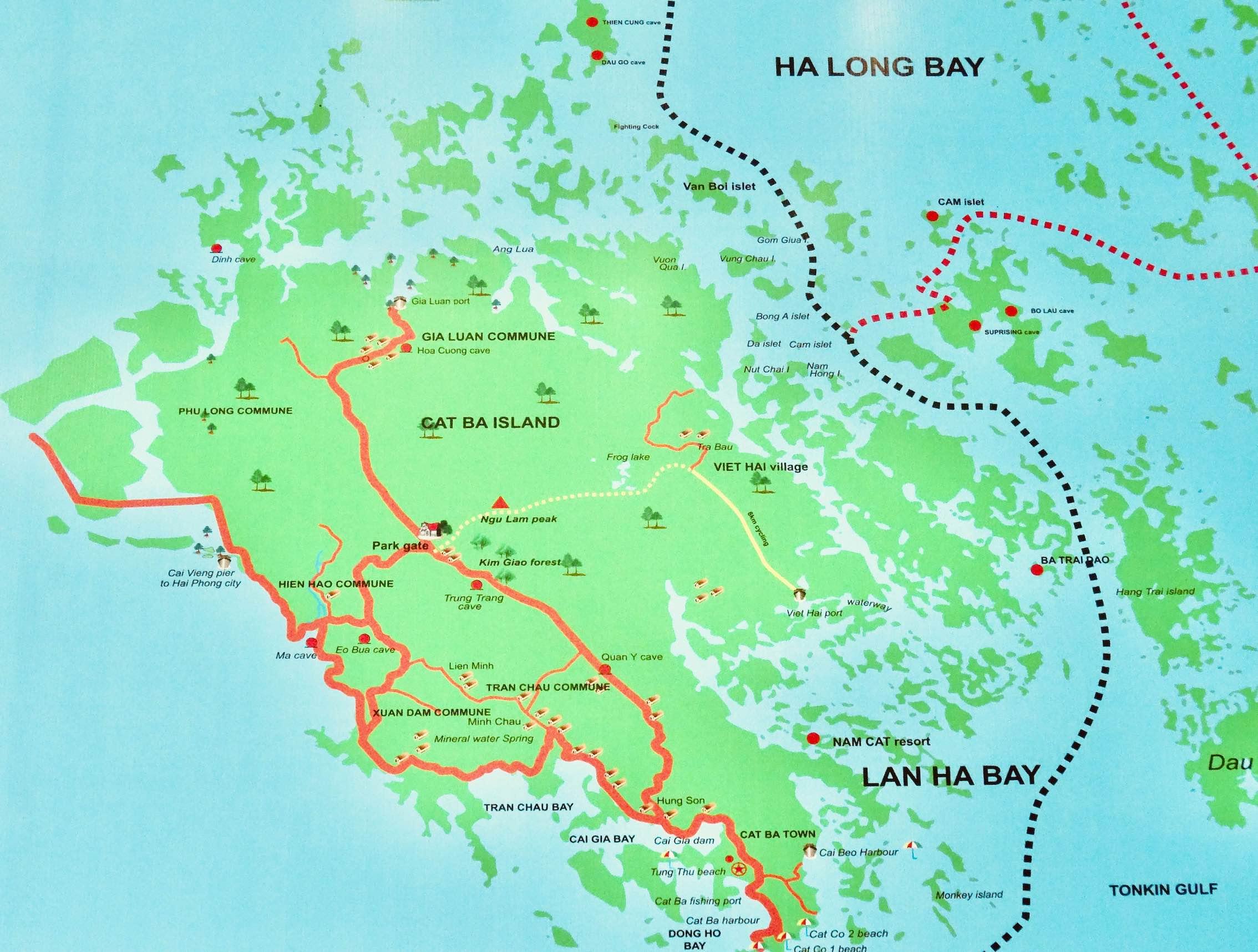 Cat Ba Island map.