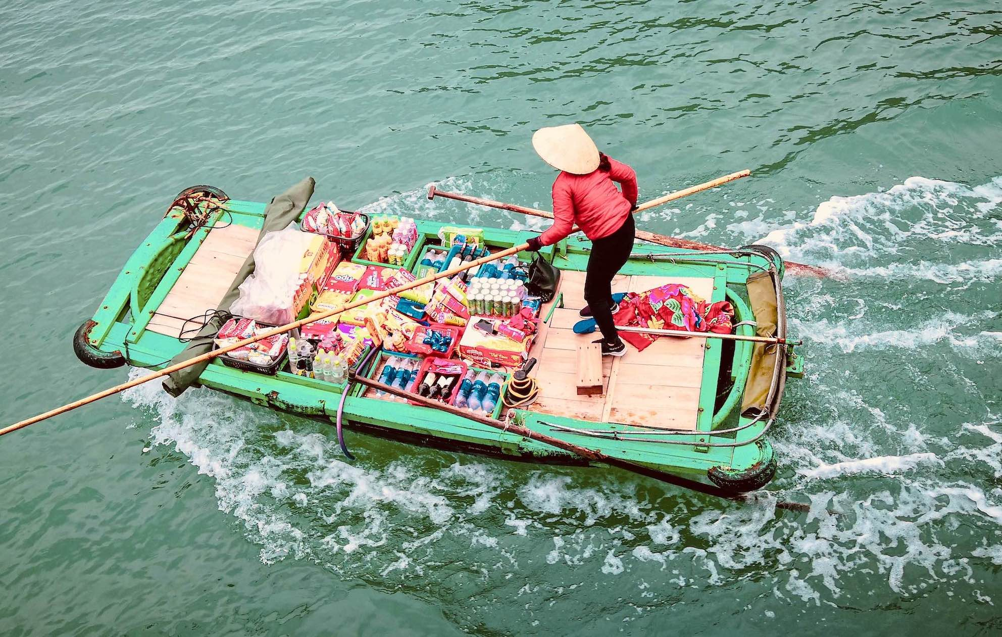 Floating store Lan Ha Bay Vietnam.