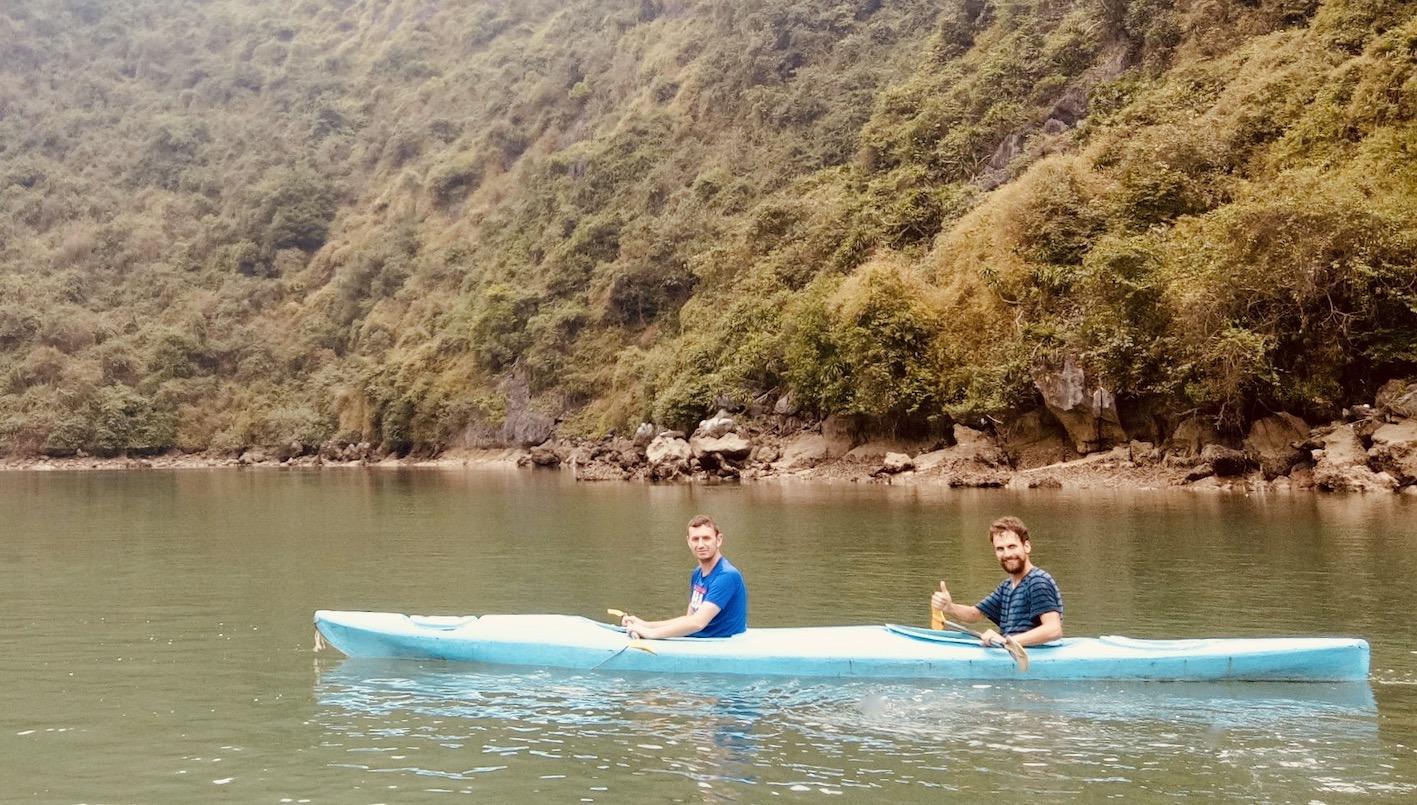 Kayaking in Halong Bay Vietnam.