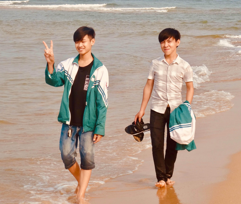 Local boys Nhat Le Beach Dong Hoi