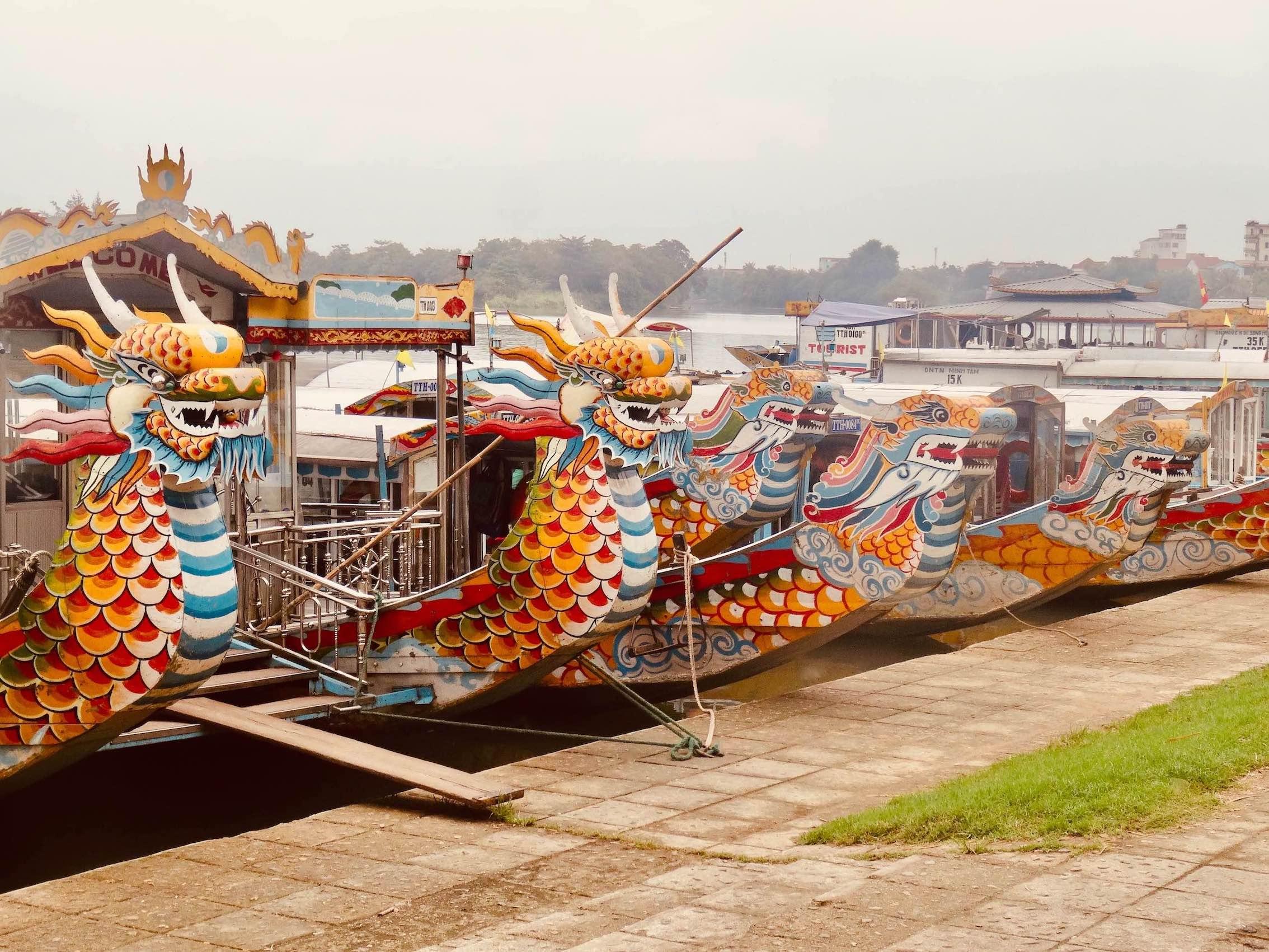 Visit Hue dragon boats on the Perfume River
